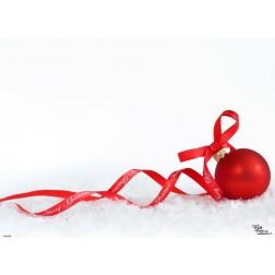 Tischsets | Platzsets - Rote Kugel im Schnee - aus Papier - 44 x 32 cm