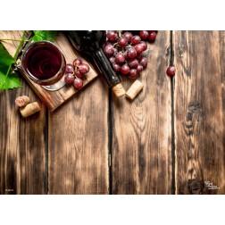Tischset | Platzset - Holztisch mit Wein - aus Papier - 44 x 32 cm