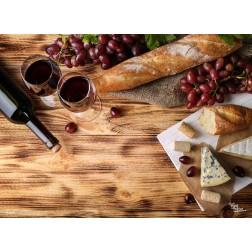 Tischset | Platzset - Käse, Baguette und Wein - aus Papier - 44 x 32 cm