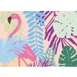 Flamingo-Grafik mit Pflanzen  - Tischset aus Papier 44 x 32 cm