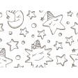 Tischset | Platzset - Mond & Sterne zum Ausmalen - aus Papier - 44 x 32 cm