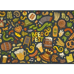 Tischset | Platzset - buntes Oktoberfest - aus Papier - 44 x 32 cm