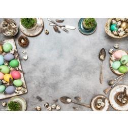 Ostereier auf festlich gedecktem Tisch - Tischset aus Papier 44 x 32 cm