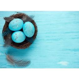 Osternest mit blau gefärbten Eiern - Tischset aus Papier 44 x 32 cm
