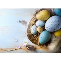 Buntes Osternest mit Eiern und Federn