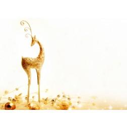 Goldener Hirsch mit Christbaumkugeln - Tischset aus Papier 44 x 32 com