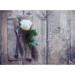 Tischset | Platzset - weiße Rose - zum Selbstgestalten aus Papier - 44 x 32 cm