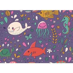 Bunte Meeresbewohner  - Tischset aus Papier 44 x 32 cm