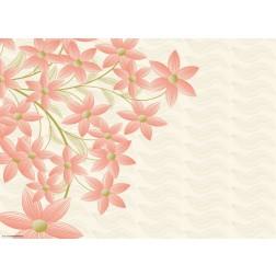 Blumengrafik mit roten Blüten  - Tischset aus Papier 44 x 32 cm
