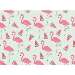 Flamingo-Grafik mit Melonenschnitzen  - Tischset aus Papier 44 x 32 cm