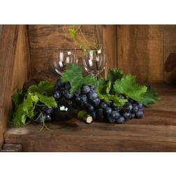 Weintrauben in Holzecke - Tischset aus Papier 44 x 32 cm
