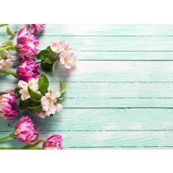 Rosa Blüten auf Türkis - Tischset aus Papier 44 x 32 cm