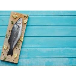 Fisch auf Brett - Tischset aus Papier 44 x 32 cm