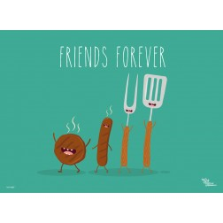 Tischset | Platzset - Würstchen Friends Forever - aus Papier - 44 x 32 cm