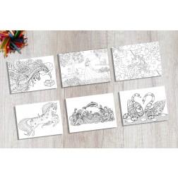 """Tischsets   Platzsets - Malvorlage """"Mädchen-Set"""" aus Papier - 44 x 32 cm"""
