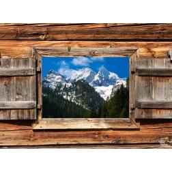 "Tischsets | Platzsets - Snow ""Berghütte mit Alpenpanorama"" aus Papier - 44 x 32 cm"